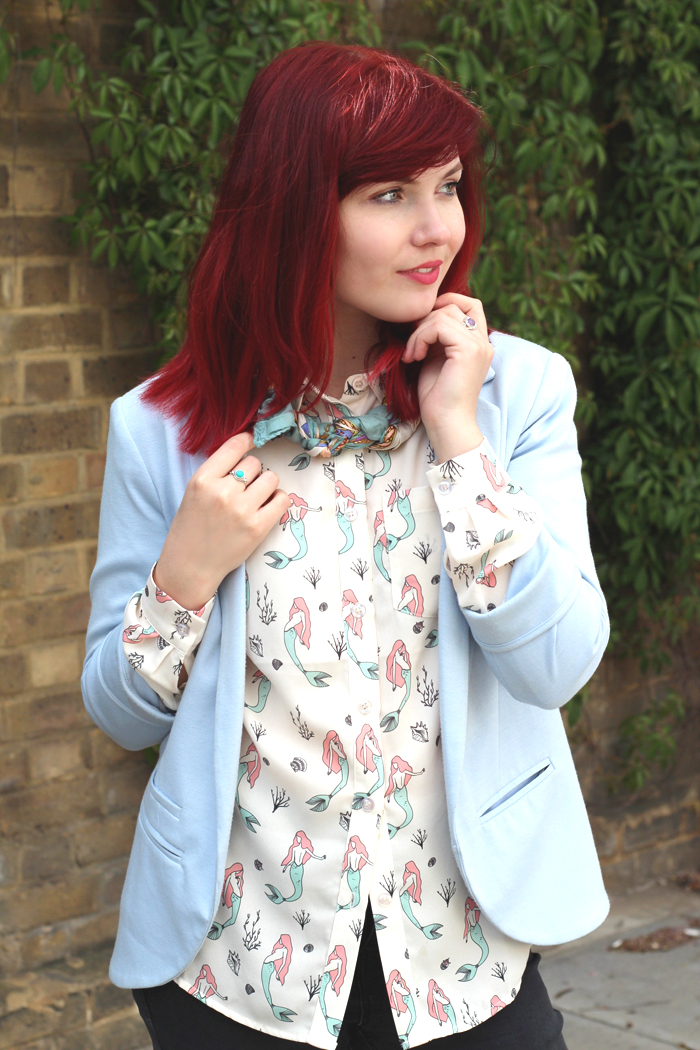 Paige Joanna   Sugarhill Boutique Mermaid Shirt, Blue Topshop Blazer and Vintage Scarf Outfit