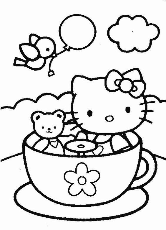 Tranh tô màu mèo hello kitty chơi với bạn vui