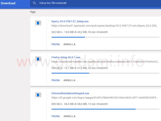 Download file offline installer di Opera, Firefox e Chrome