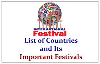 List of Countries and Its Important Festivals- Expected GK Study Material