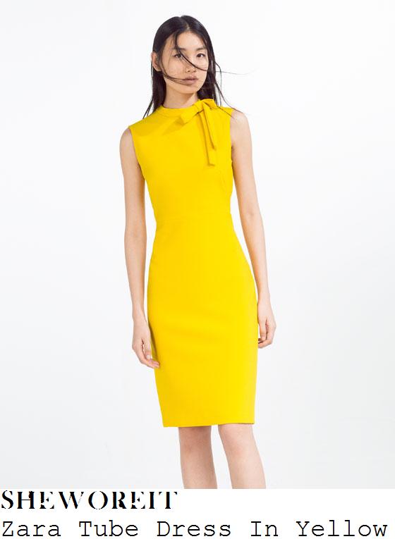 amanda-holden-zara-bright-yellow-bow-neck-detail-sleeveless-tube-pencil-dress