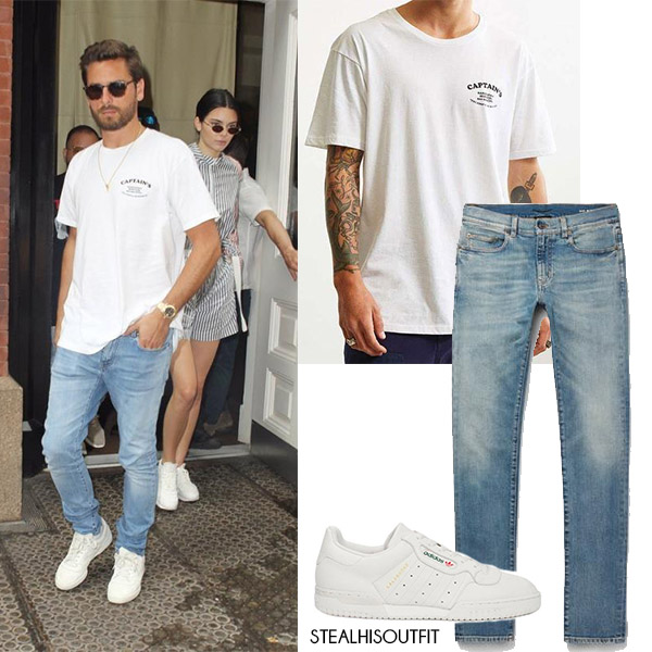 6eabca2d67604 Scott Disick in white tee and jeans saint laurent july 28 2017 streetstyle