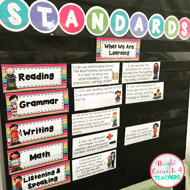 Easy to use student friendly standards cards in kid friendly language make switching standards out so much easier.