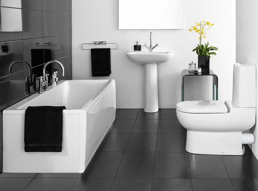 Badezimmer Schwarzer Boden Weiße Wand - lueduprep