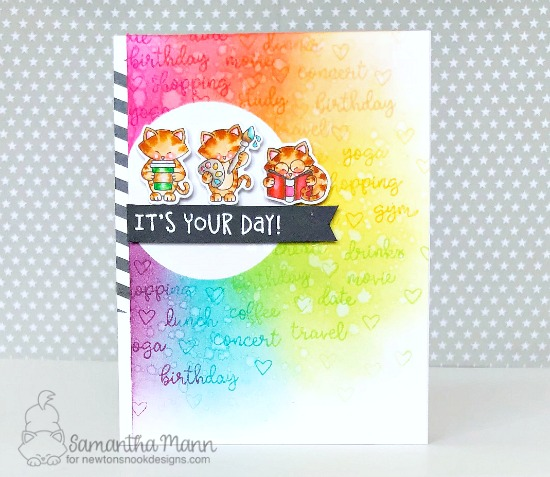 Rainbow Kitty card with planner cats by Samantha Mann | It's a Plan, Newton Makes Plans, and Birthday Essentails Stamp Sets by Newton's Nook Designs #newtonsnook #handmade