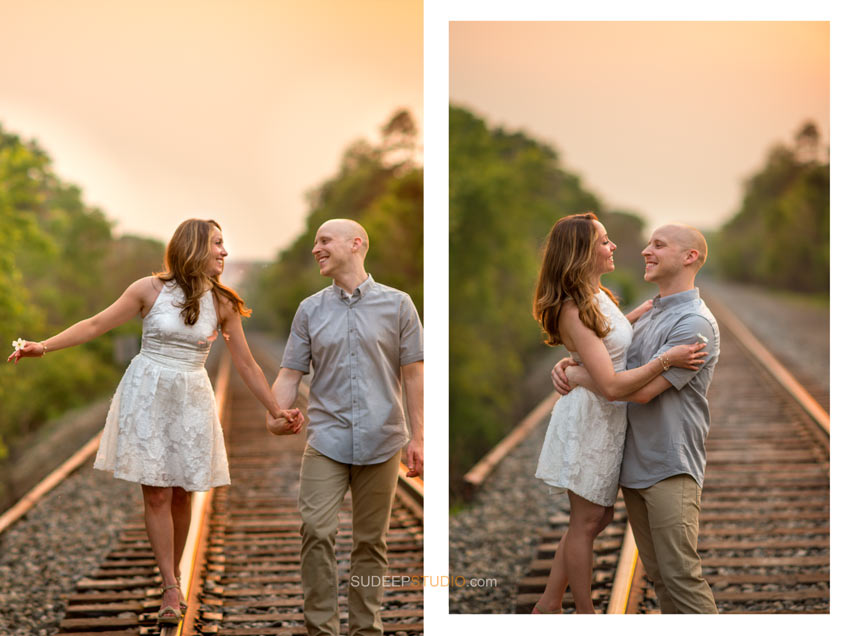 Rail road train tracks Engagement poses - Sudeep Studio.com
