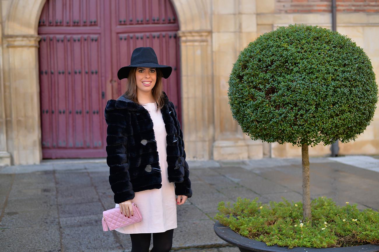 Faux Suede Dress and Faux Fur Coat