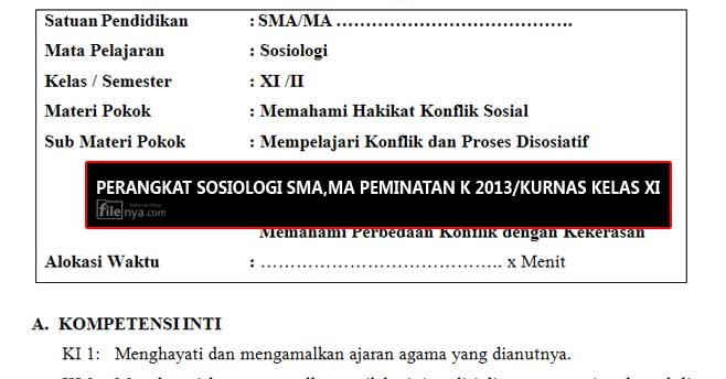 RPP Sosiologi SMA,MA PEMINATAN Kurikulum 2013/Kurikulum Nasional Kelas 11