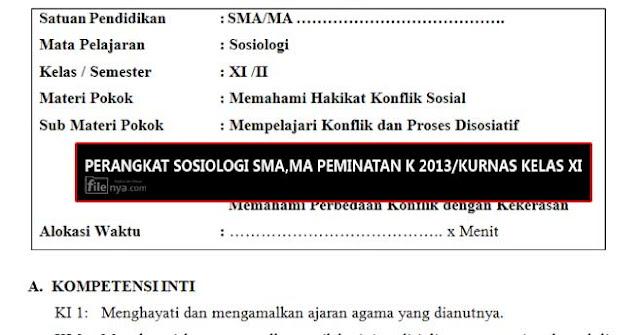 Rpp Sosiologi Sma Ma Peminatan Kurikulum 2013 Kurikulum Nasional Kelas Xi 11 Filenya