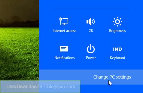 buka pc settings di windows 8.1
