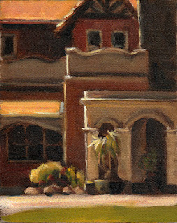 Oil painting of Victorian-era arches adjoining a double-storey Edwardian brick building.