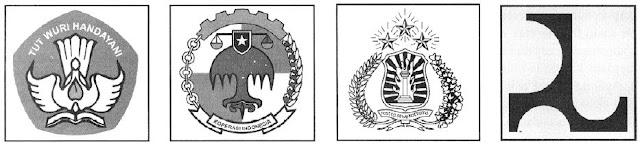 Contoh beberapa lambang: Tutwurihandayani, koperasi, lambang Polri, dan simbol lembaga pekerjaan umum.