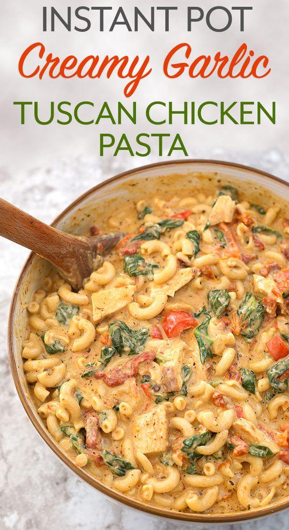 Instant Pot Creamy Garlic Tuscan Chicken Pasta #DINNER #MAINCOURSE #PASTA