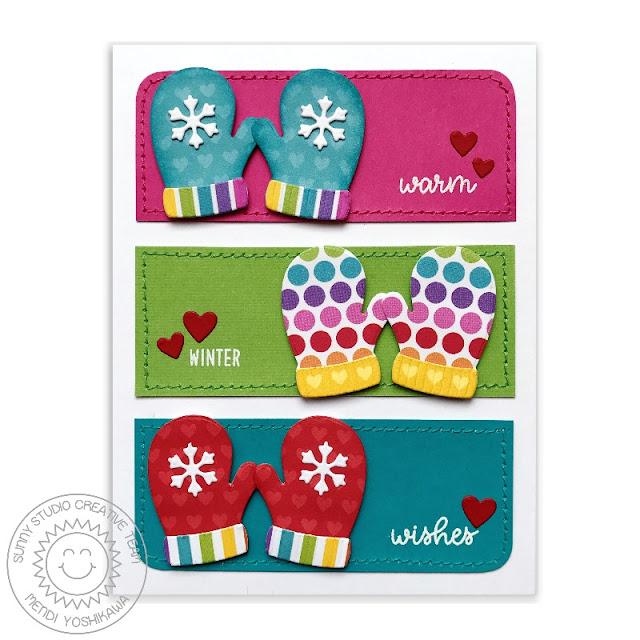 Sunny Studio Stamps: Warm & Cozy Winter Wishes Snowflake Mittens Rainbow Holiday Card by Mendi Yoshikawa