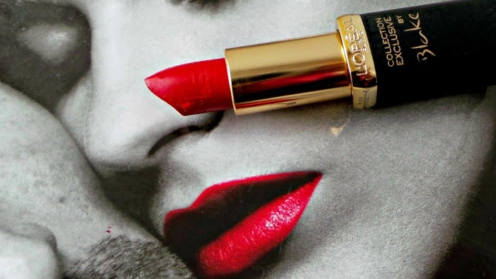 loreal red lipstick by blake