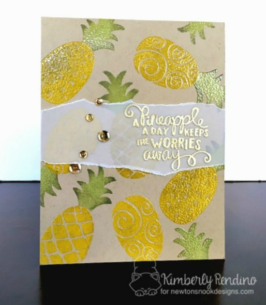 Bold Pineapple card by Kimberly Rendino | Pineapple Delight Stamp set by Newton's Nook Designs #newtonsnook