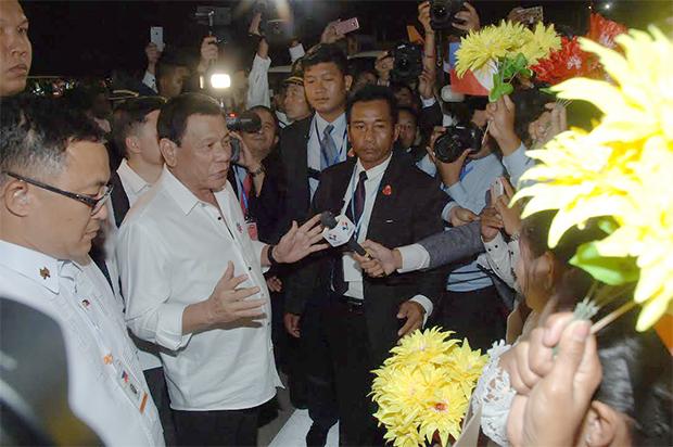 Arrivée du président Duterte. Photographie : Hun Yuthkun