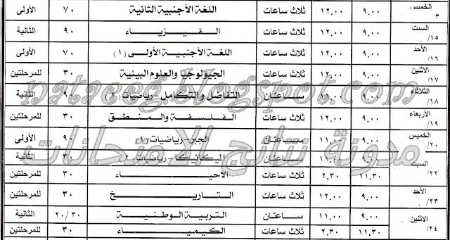 جدول ومواعيد امتحانات الثانويه العامه 2014 بالصور