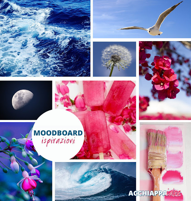Moodboard Ispirizazioni per Acchiappaidee blu fucsia