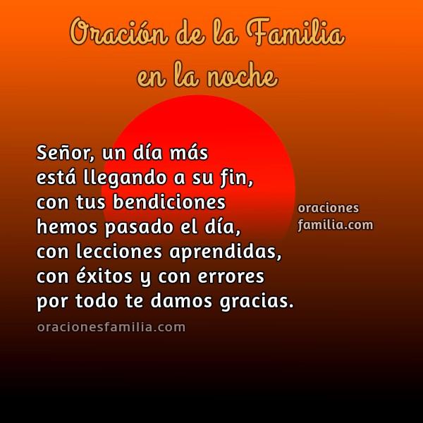 Oración corta para la hora de dormir en la noche, buenas noches de descanso con oraciones de familia e imagen cristiana.
