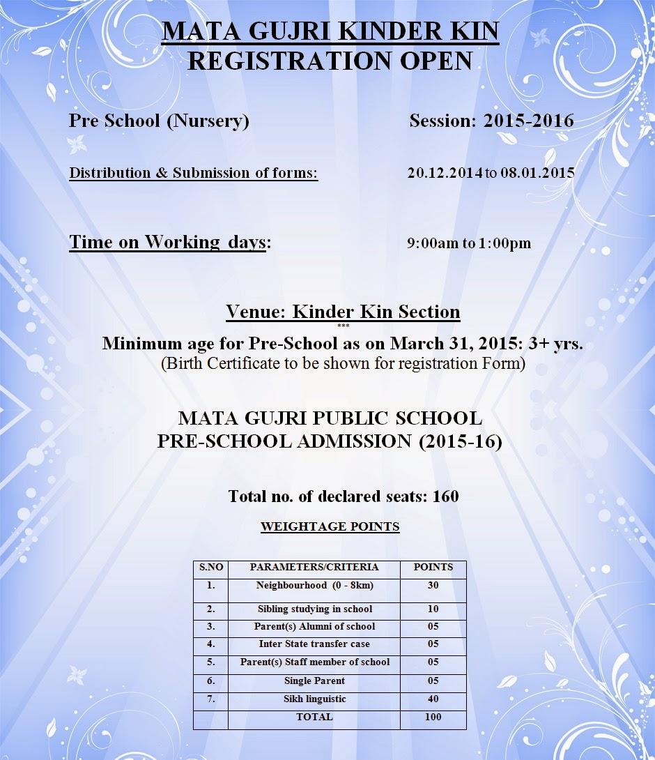 Mata Gujri Public School Admission Session 2015 16 Gurudwara Singh Sabha  Greater Kailash  Admission Forms Of Schools