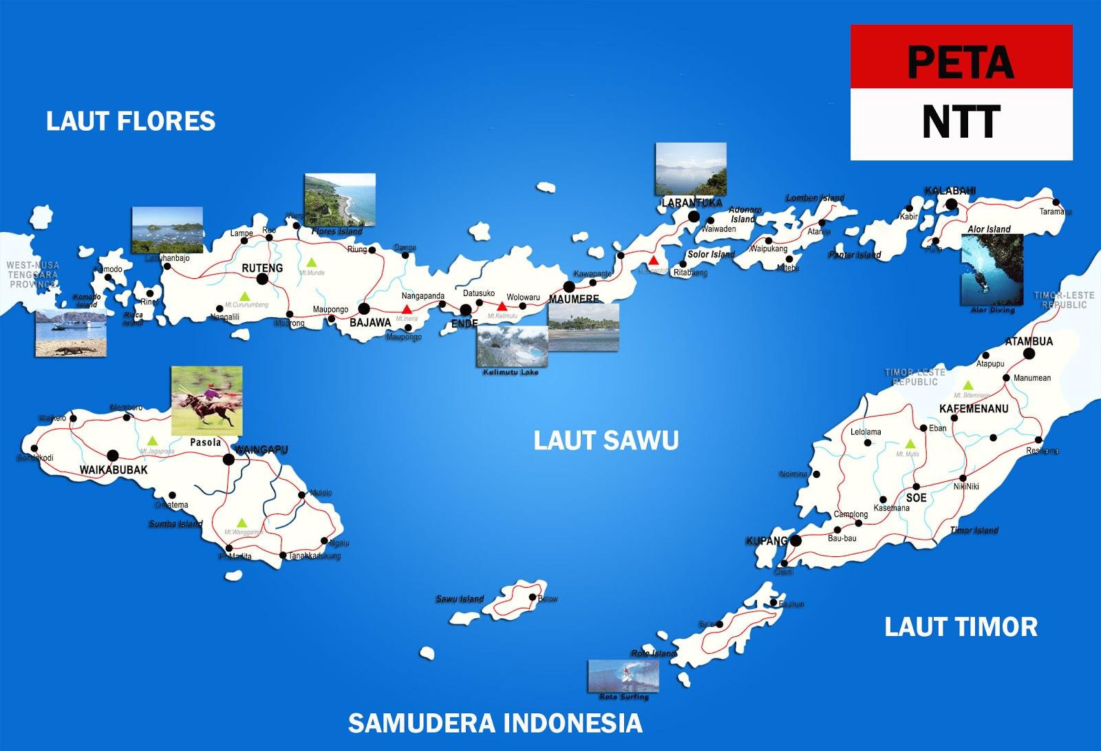 Peta NTT lengkap 21 Kabupaten 1 Kota - Sejarah Negara Com