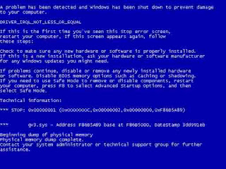 Mengenal Error Blue Screen Pada Windows