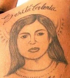 Imagen de Sarita Colonia en tatuaje de hombre
