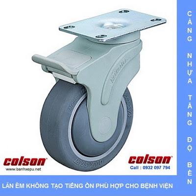 Bánh xe đẩy cao su y tế có khóa chịu lực 70kg | STO-3856-448BRK4 www.banhxepu.net
