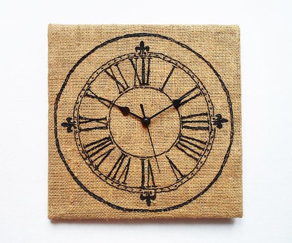 ρολόι με κέντημα, κεντημένο ρολόι, ρολόι κάδρο, ρολόι φτιάξτο μόνος σου