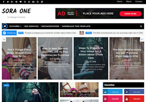Sora one blogger template free by sora 2018