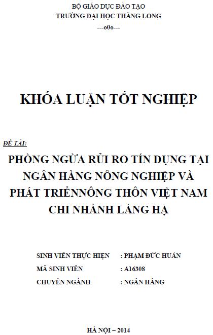 Phòng ngừa rủi ro tín dụng tại ngân hàng nông nghiệp và phát triển nông thôn Việt Nam Chi nhánh Láng Hạ