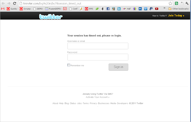 A fake twitter.com login page