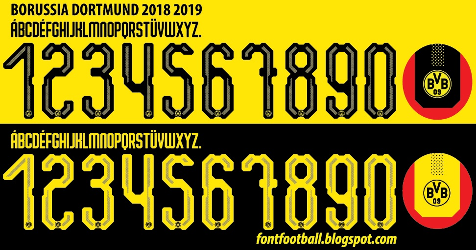 FONT FOOTBALL: Font Vector Dortmund 2018 2019 kit