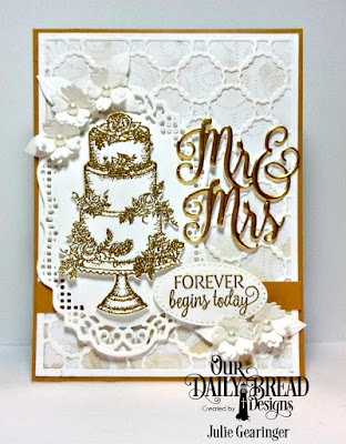 Our Daily Bread Designs Stamp Set: Long Lasting Love, Custom Dies: Mr & Mrs, Scalloped Chain, Vintage Borders, Pierced Ovals, Bitty Blossoms, Paper Collection: Wedding Wishes