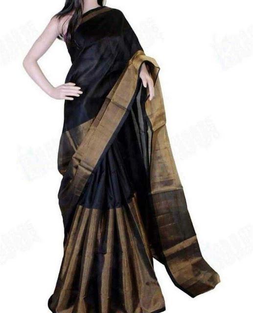 Uppada Half And Half Black Tissue Silk Saree