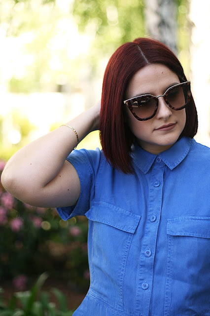 Prada sunglasses, luxury brand, J Crew, spring dress, cobalt blue, fashion blogger
