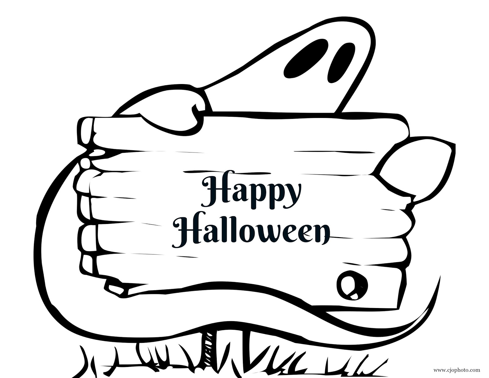 CJO Photo: Halloween Coloring Page: Happy Halloween Ghost