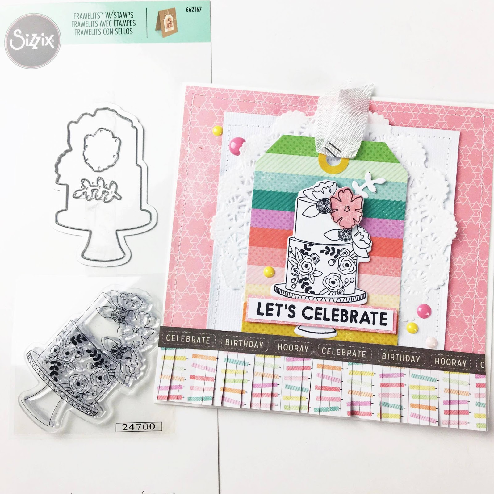 Let s Celebrate a birthday card featuring new Sizzix stamp & set