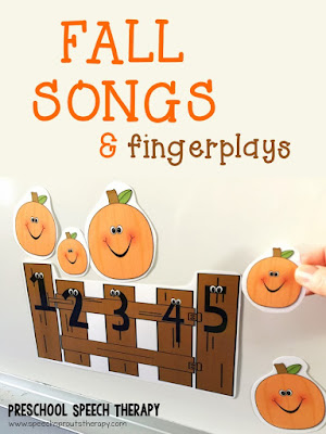 A round-up of fabulous fall songs and fingerplays for preschool speech therapy plus where to find the best youtube videos to teach them. Speech and language targets and more autumn speech and language activities are listed for your fall themes. #speechsprouts #speechandlanguage #preschool #fallpreschoolactivities #fingerplays