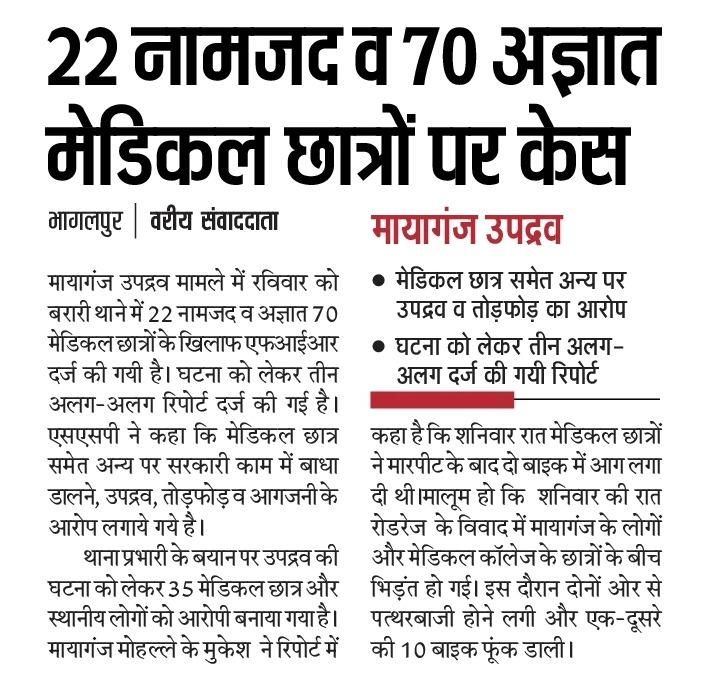 उपद्रव मामले 22 नामजद व 70 अज्ञात मेडिकल छात्रों पर केस