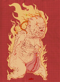 Al Basti, a demon surrounded by fire flames