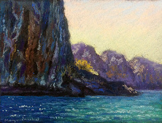 Soft pastel painting of Phi Phi Leh, near Phuket. By Manju Panchal