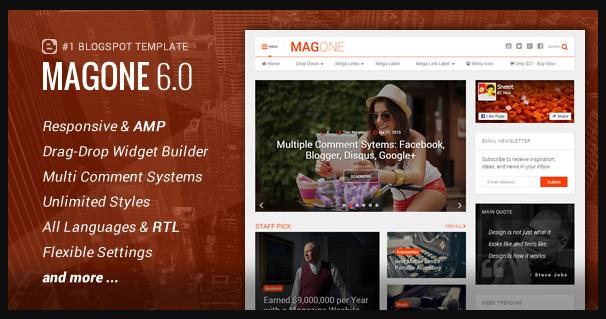 MagOne Premium Magazine Blogspot Theme 6.1.2 Free Download