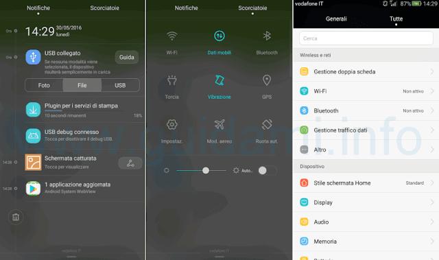 Huawei G Play Mini Android 5 schermata Notifiche, Scorciatoie, Impostazioni