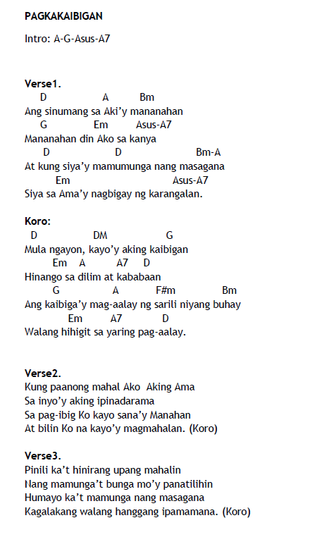 The Psalms Of Praise Pagkakaibigan Lyrics And Chords