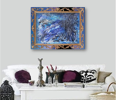 Spontaneous painting Winter Rhapsody in an abstract style