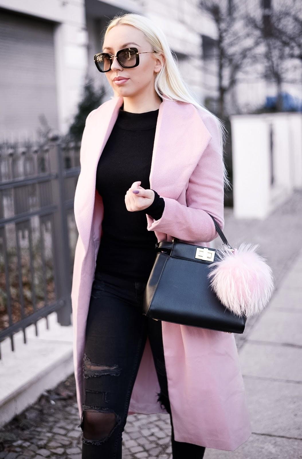 miumiu sunglasses_fendi peekaboo_pink coat