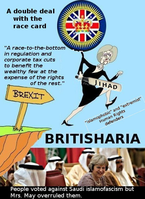"Mrs Theresa May digging a racist/sexist ""British"" sharia ""empire"" under the Brexit cliff"