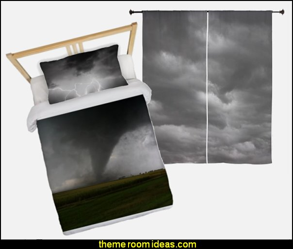 STORM CLOUDS Curtains   Black Storm Pillow Case  Tornado Twin Duvet